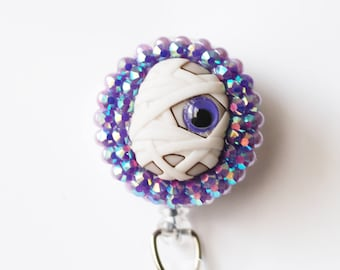 Halloween Googly Eyed Mummy ID Badge Reel - Retractable ID Badge Holder - Zipperedheart