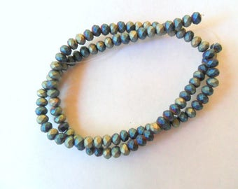 Raku Inspired Glass 4mm Faceted Round Beads Strand, 16""