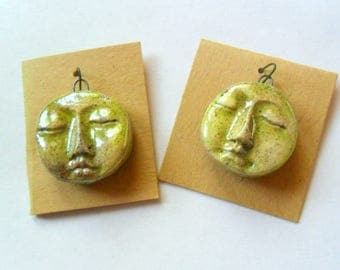 Raku Fired Clay Face Charm Findings Pair in Copper Speckled Green Glaze
