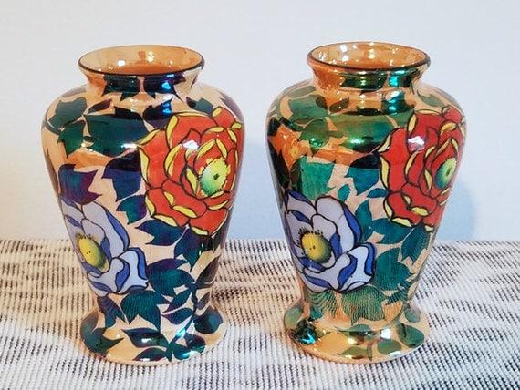 Pair of vintage Art Deco Japan Lusterware / peach luster / asian miniature oriental bud vases hand painted / porcelain / ceramic / pottery