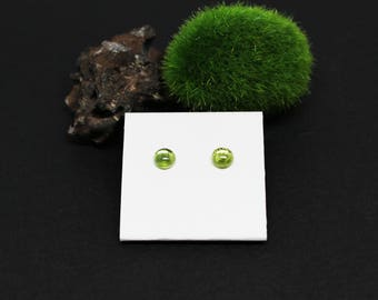 Peridot Gemstone . SMALL 6mm Smooth Domed Round . Sterling Silver Posts Studs Earrings . Lime Green . E16175