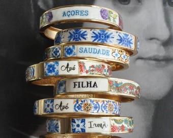 Personalized  BRACEleT - Custom Bangle Portugal Tile  Grandma Mae Mom Mamã Avó Vovó Tia Sister Madrinha Madrina Ships from USA MADE to ORDER