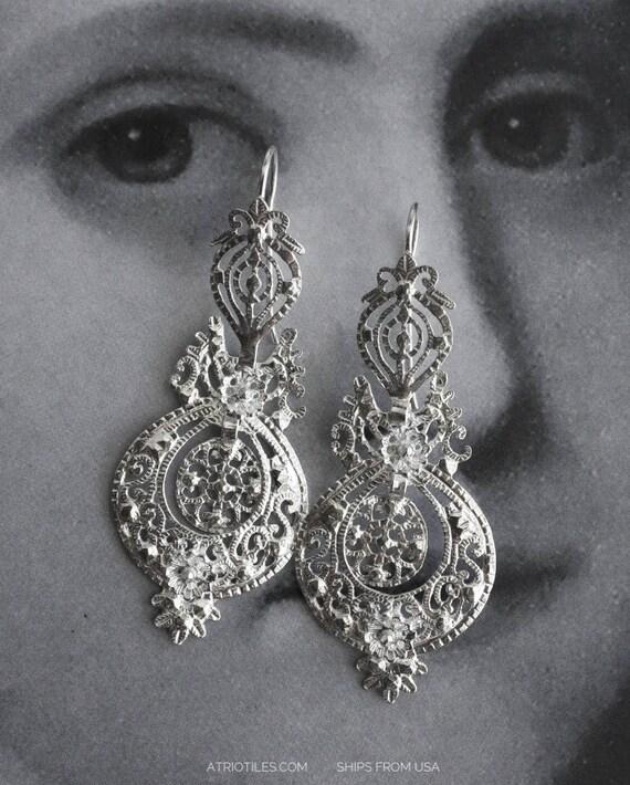 Earrings Filigree Silver Portugal Queen's Earrings - Brincos da Rainha  AVEIRO Santa Joana Convent