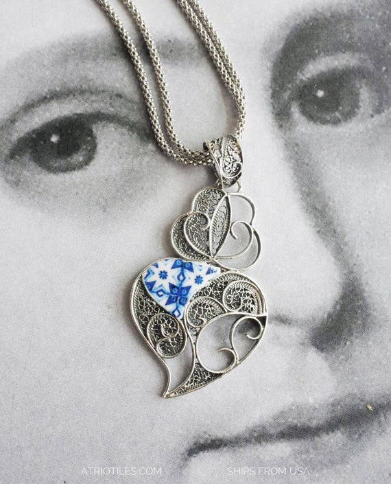 Necklace Filigree Portugal Sterling Filigrana Portuguese Blue Azulejo Tiles from Porto - Heart of Minho Viana Ships from USA