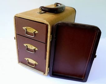 Vintage Storage Crafts Jewelry Carrying Case, 3 Drawers - B & J Slide Sequence Unifile Suitcase - Photography Case Slide Luggage Carrier