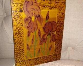 Spring, Purple Irises on Woodblock at Nestbox Vintage Original Artwork