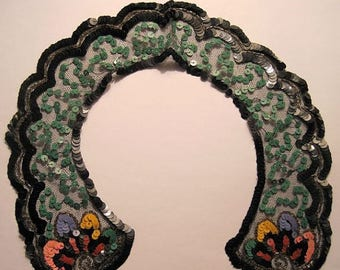 Vintage Tulle Beaded Collar Flapper Sequins Art Deco