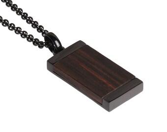"Stainless Steel Pendants for Men Ebony Wood Necklace Pendant 25"" Pendant Necklace with Jewelry Gift Box"