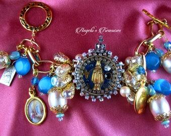 Vintage and New Catholic Infant of Prague Watch Shrine Handmade Religious Medals Charm Bracelet