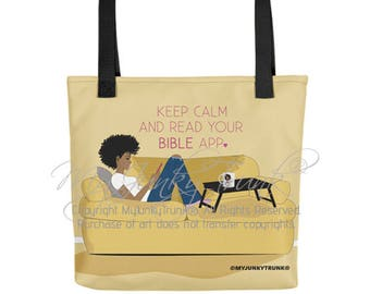 Bible App- Natural Hair Art Black Woman TOTE BAG