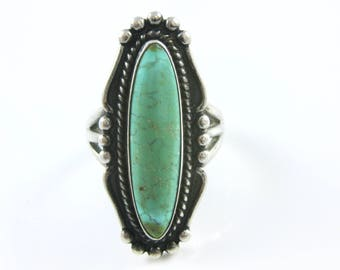 Size 6 3/4 Vintage Elongated Oval Green Turquoise Sterling Silver Ring