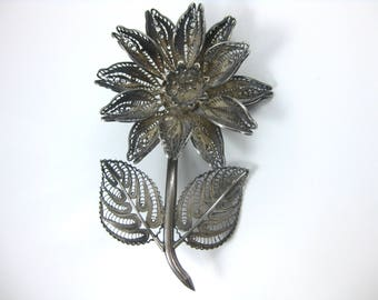 Vintage Mexico Silver Large Flower Brooch