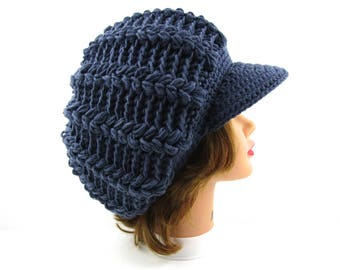 Blue Newsboy Hat - Crochet Cap - Slouchy Tam With Visor - Brimmed Beanie - Women's Hat - Puff Stitch Cap - Visor Hat