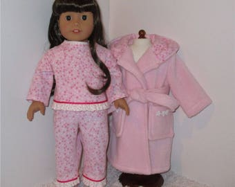 """Pink Robe and Slippers with Star Flannel Pajamas, Fits 18"""" Dolls // AG Pajama Set, American Girl, Slippers, AG Doll Clothes, Sleepwear"""