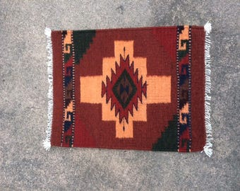 Native American Handwoven Small Rug in Reds, Blues and Greens