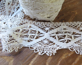"Antique Cluny Bobbin Lace Trim Handmade in Winter White Cotton 2.3 Yards x 2-1/4"" Wide"