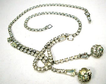 Bridal Wedding Glam Rhinestone Necklace, Sparkling Fancy Tassel Design, Immaculate, All GLASS Stones, No Dark, 1970s READY to Party