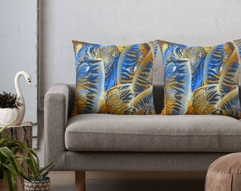 Blue Orange Abstract Art on Throw Pillow Cover / Decorative Cushion Cover / Fine Art Home Decor / Available in 6 Sizes / Made to Order