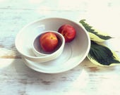 Made to Order Handmade Swirling Chip n Dip // Pottery Bowl in Glossy White