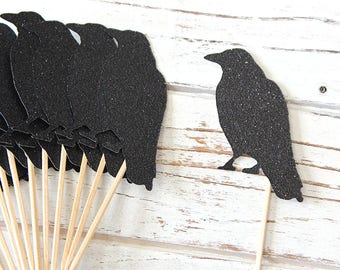 Black Crow Cupcake Toppers - Set of 12 - Halloween