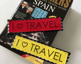 I Love Travel, Bookmark, Set of Two, for your travel adventure, travel gift for the avid traveler, beach read book mark