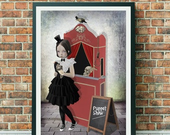 Puppet Show Art Print - Girl And Puppets - A3 Art Print - The Show Must Go On