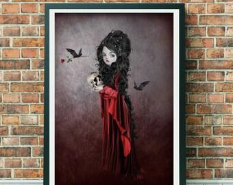 A3 Art print - Goth Girl Art - Large Print - Vampire Print - Sorry