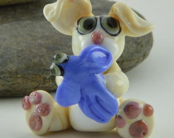 RABBIT/HARE with bird, a bird in the hand, Glass Sculpture Collectible, Focal Bead, Izzybeads SRA