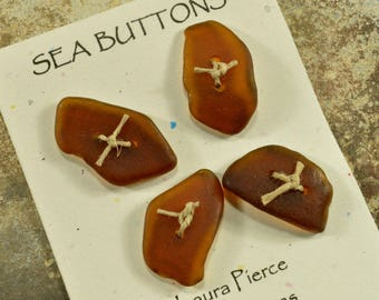 Set of four little molasses brown naturally ocean tumbled Maine sea glass buttons for fiber artists and jewelry crafts