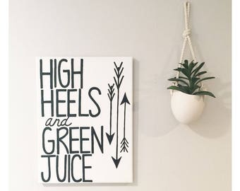 High Heels Green Juice - Hand painted Canvas - bedroom painting decor home house dwell wall hanging decoration black gold paint art work