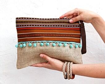 SALE Writlet Bag in Brown with Aqua  Green Pompoms. Boho Chic Fabric Bag. Hobo Bag Bohemian Style. Ethnic Bag. Bohemian Bag