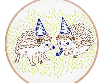 HEDGEHOG PARTY embroidery kit - hand embroidery kit, embroidery hoop art, hedgehog art by StudioMME