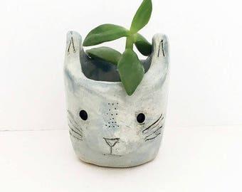 Blue Ceramic Cat Planter