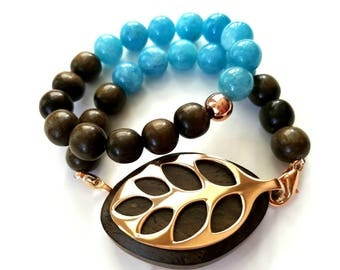 Bella Beat Leaf bracelet double natural aquamarine and dark brown wood with rose gold finishing