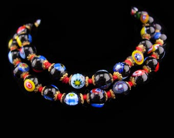 "Vintage millefiori necklace / glass choker / vintage Hand knotted necklace / Italian Glass  / 16"" long / black red blue green and yellow"