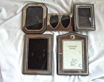 Vintage Silver Plate Photo Frames Set of Five Vintage Home and Living Vintage Decor Vintage Picture Frame Set Five Multi Design Silver Plate