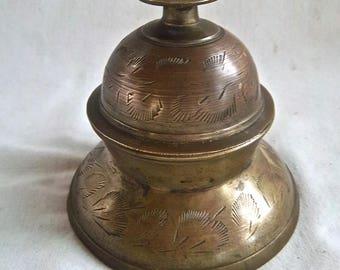 Vintage Brass Desktop Bell and Stand Vintage Shop Store Desktop Brass Bell Vintage Home and Living Vintage Brass Bell Feathered Design Decor