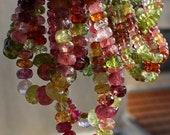 "Rubelite Pink Green Bright Colors Watermelon Tourmaline Faceted Rondelle Beads Gradual Size 3.5-6.5mm 7"" long bracelet"