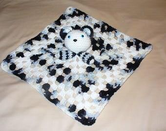 Panda Animal Lovey Blanket Toy - crochet - ready to ship