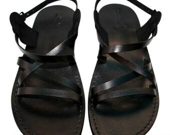 CLEARANCE SALE - Black Star Leather Sandals for Men & Women - EURO # 36 - Handmade Unisex Sandals, Genuine Leather Sandals, Sale