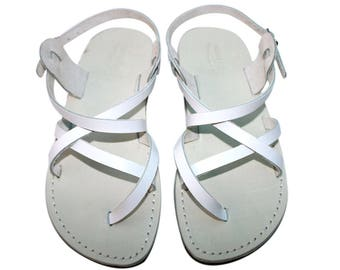 CLEARANCE SALE - WHITE Triple Leather Sandals - All Leather Sole  - Euro # 39 - Handmade Unisex Sandals, Genuine Leather, Sale