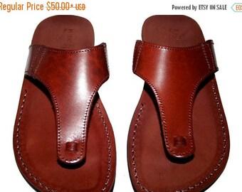 15% OFF Brown Wave Leather Sandals For Men & Women - Handmade Unisex Sandals, Flip Flop Sandals, Jesus Sandals, Genuine Leather Sandals