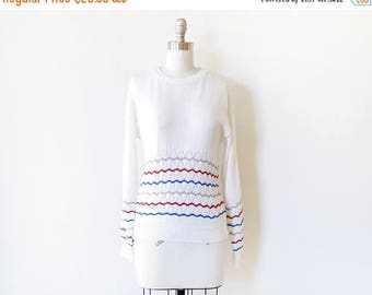 20% OFF SALE vintage white 80s sweater, white pointelle sweater with red, blue, and gray chevron stripes, pullover knit top, medium m