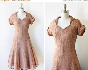 20% OFF SALE vintage 50s lace dress, 1950s party dress, light brown lace dress, small s