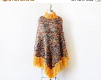20% OFF SALE 70s poncho, vintage 1970s knit poncho, turtleneck fringe poncho, gold and purple boho blanket poncho