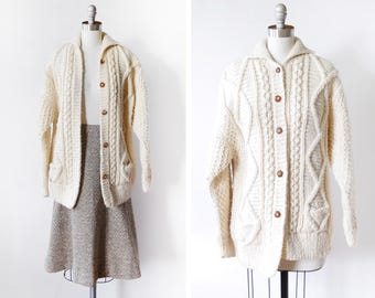 cable knit fisherman's sweater, vintage wool cardigan, white cream chunky knit slouchy 70s cardigan,  medium or large
