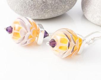 Purple Sunset Dahlia Sterling Silver Earrings