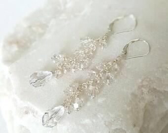 Crystal wedding Earrings, Bridal Earrings, Drop Wedding Earrings, Swarovski Crystal Earrings