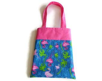 Pink Flamingo Gift Bag - Goodie Bag - Mini Tote - Lot of 10