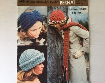 1974 Hats & Scarves Bernat Book 212 knit crochet patterns